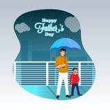 父亲和儿子二重奏,喜欢下雨季节在伞下 愉快的f 免版税库存照片