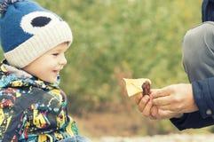 父亲和儿子做并且使由秋天叶子做的一条小船下水,童年, instagram的作用 图库摄影