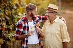 父亲和儿子品尝酒在葡萄园里 免版税库存照片