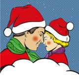 父亲和儿子圣诞节流行艺术可笑的传染媒介 免版税库存图片
