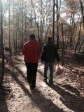 父亲和儿子散步 库存图片