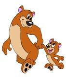 父亲和儿子熊 免版税库存照片