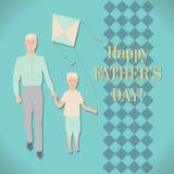 父亲和儿子的例证 贺卡,对t的邀请 免版税库存照片