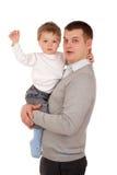 父亲和儿子的纵向 库存照片
