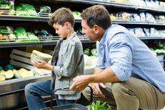 父亲和儿子购物 免版税图库摄影