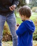 父亲和儿童儿子在秋天公园 库存照片