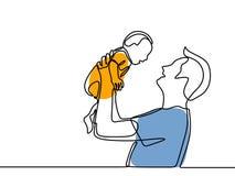 父亲和儿童可爱的家庭观念Father'的实线图画;s天卡片幸福片刻 向量例证