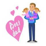 父亲和女儿的 抱着他的婴孩,父亲节的父亲 免版税库存照片
