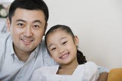 父亲和女儿的画象 库存图片