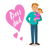 父亲和女儿 抱着他的婴孩,父亲节的父亲 免版税库存图片