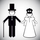 父亲和新娘剪影  库存图片