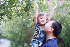 父亲容忍拥抱他的女儿微笑获得乐趣享受业余时间在与树的夏天公园愉快的儿童童年戏剧 免版税图库摄影