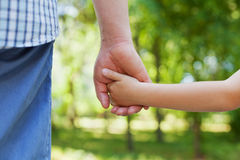 父亲握小孩的手反对美好的bokeh背景在晴朗的夏日,愉快的家庭观念 库存图片