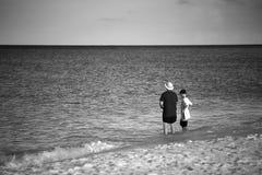 父亲教的渔在度假 库存图片