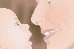 父亲注视儿子 免版税库存图片