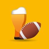父亲节啤酒橄榄球战利品象 向量例证