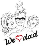 父亲节 我们爱爸爸 爸爸和儿童画象 免版税库存照片