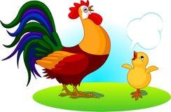 父亲雄鸡和婴孩小鸡