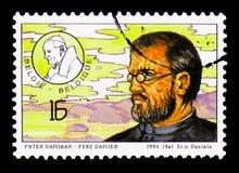 父亲Damiaan - Pere达明,圣洁声明serie,大约1994年 库存照片