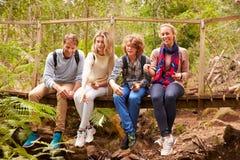 父母和十几岁使用,坐一座桥梁在森林里 图库摄影