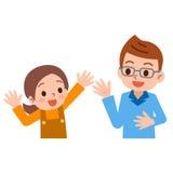 父母和孩子交谈的 免版税库存照片