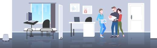 父母和新生儿幸福家庭和医生夫妇岗位新生儿科医生咨询概念现代医院 向量例证