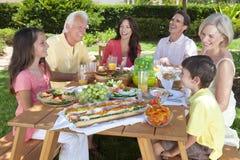 父项祖父项儿童系列吃 免版税库存照片