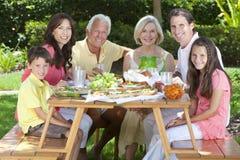 父项祖父项儿童系列吃 免版税图库摄影