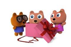 爸爸熊和Bear妈妈被打开的礼物盒,看见婴孩负担, 3D烈 库存照片