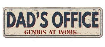 爸爸` s办公室,天才在工作,葡萄酒生锈的金属标志 皇族释放例证