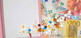 片剂、药片、胶囊、笔记本和钞票欧元 自疗程,社会医学,可及性,在PR的上升的概念 免版税库存图片