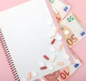 片剂、药片、胶囊、50欧元药片与铅笔和钞票  自疗程,社会医学, accessibil的概念 图库摄影