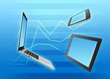 片剂、计算机和手机在蓝色 免版税库存图片