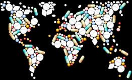 片剂世界地图 免版税库存图片