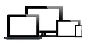 片剂个人计算机、手机和计算机 免版税库存图片