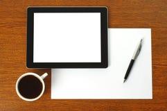 片剂个人计算机、纸和笔 库存图片