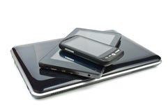 片剂个人计算机和触摸屏电话 图库摄影