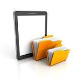 片剂个人计算机和黄色Ofice文件夹 库存照片