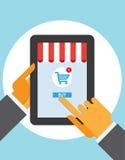 片剂个人计算机购买按钮在线商店的接触手指 库存图片
