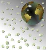 片剂和地球地球 免版税库存照片