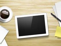 片剂和工作地点元素顶视图  库存照片