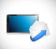 片剂和电子邮件。与我们联系忙个不停概念 免版税库存图片