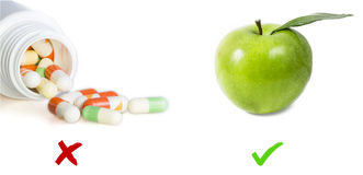 片剂和苹果图象 库存图片