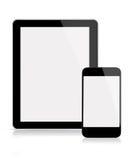 片剂和移动电话 免版税库存照片