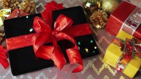 片剂圣诞节的个人计算机礼物 影视素材