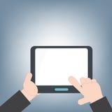 片剂在手中和网和流动应用的,流动技术背景概念,例证传染媒介空白的白色屏幕我 免版税库存照片