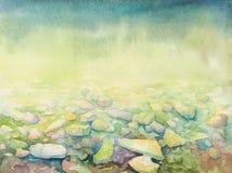 片剂小配件的墙纸有手拉的水彩海深度的和海滩支持小卵石 库存图片