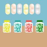 片剂的瓶,包装为片剂,药片的容器 库存照片