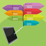 片剂笔信息图表五颜六色的传染媒介 库存图片