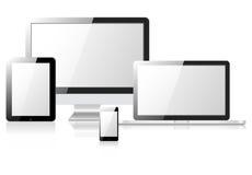片剂膝上型计算机电话显示器 免版税库存图片